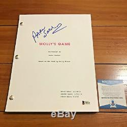 AARON SORKIN SIGNED MOLLY'S GAME MOVIE SCRIPT with COA + POKER CHIP SET FYC