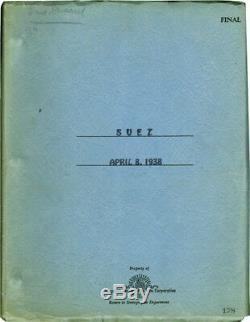 Allan Dwan SUEZ Original screenplay for the 1938 film #132192