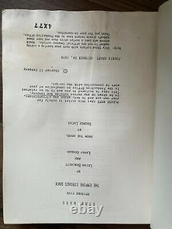 Authentic Vintage Star Wars Empire Strikes Back Movie Script Original 1978