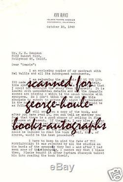 Ayn Randletterautograph- Film & Scripts1948fountainhead