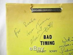 BAD TIMING FILM SCRIPT SIGNED by NICOLAS ROEG, HARVEY KEITEL, THERESA RUSSELL +1