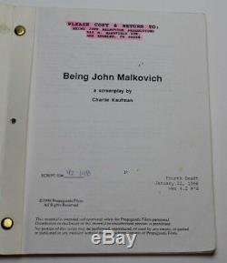 BEING JOHN MALKOVICH / Charlie Kaufman 1998 Movie Script Screenplay, head portal