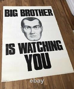 BIG BROTHER IS WATCHING YOU Original 60/70s Protest Poster ORWELL 1984 Book/Film
