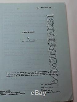 Batman & Robin 1996 Original Movie Script Arnold Schwarzenegger as Mr Freeze