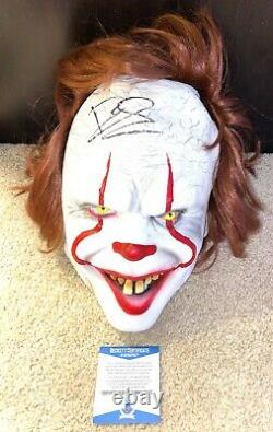 Bill Skarsgard Signed Pennywise Mask It 2 Halloween Stephen King Movie Book Bas
