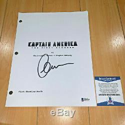 CHRIS EVANS SIGNED CAPTAIN AMERICA FIRST AVENGER MOVIE SCRIPT with BECKETT COA