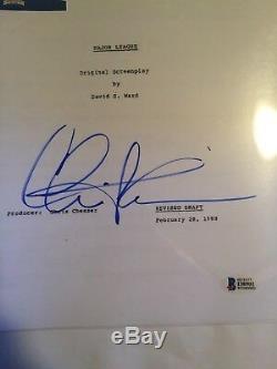Charlie Sheen Autographed Major League Movie Script Beckett COA