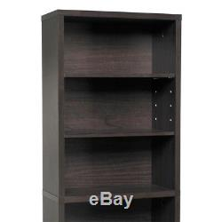 DVD Holder Media Storage Movie CD Book Shelf Slim Cabinet Stand Wood Espresso