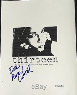 Evan Rachel Wood Signed Autograph Rare Thirteen Complete Movie Script Coa