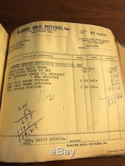Huge Vintage 1929 Invoice Book From WARNER BROS. Film Studio Early Hollywood Gem