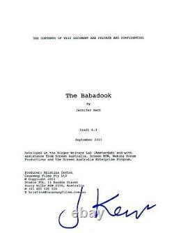 Jennifer Kent Signed Autographed The Babadook Movie Script COA