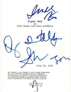 Jonah Hill, Seth Rogen Emma Stone +2 Cast Signed Autograph Superbad Movie Script