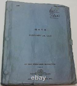 MASH / Ring Lardner Jr. 1969 Original Movie Script Screenplay, Donald Sutherland