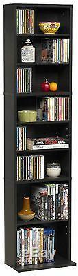 Media Sorage Dvd Movie CD Book Shelf Extra Wide Slim Cabinet Stand Wood Espresso