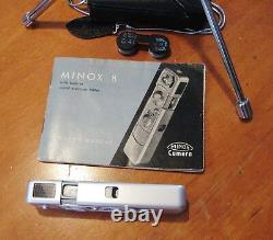 Minox B Spy Camera Original Case & Chain Tripod Flash Book Film Ship Free