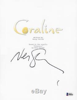 Neil Gaiman Signed Coraline Full Movie Script Beckett Bas Autograph Auto