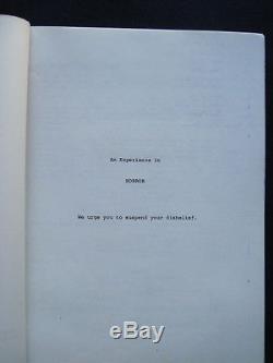 ORIGINAL SCRIPT William Castle's Cult Classic Film BUG BRADFORD DILLMAN'S Copy
