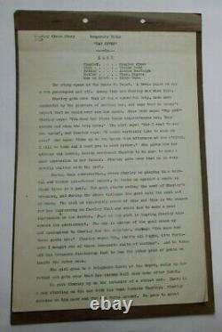 SNAPPY SNEEZER / 1929 Treatment Script, Hal Roach Short Film, Charley Chase