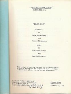 STAR TREK THE MOTION PICTURE Gene Roddenberry Vintage Draft Movie Film Script