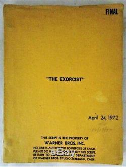 THE EXORCIST, by Wm P Blatty 1972 Original Warner Bros Script Screenplay