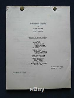 THE GLENN MILLER STORY- JAMES STEWART Film ORIGINAL Dialogue Continuity Script