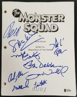 The Monster Squad Cast (9) signed Full Movie Script Autograph Dekker Gower BAS