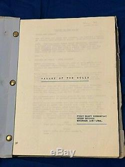 VALLEY OF THE DOLLS Movie Script FIRST DRAFT SCREENPLAY dated November 3, 1966
